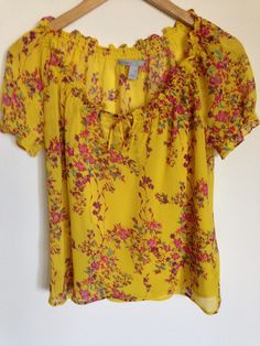 Old Navy Women's Blouse Short Sleeve Yellow Floral Shirt Cami Sheer Ruffle  XS #OldNavy #Blouse #Casual