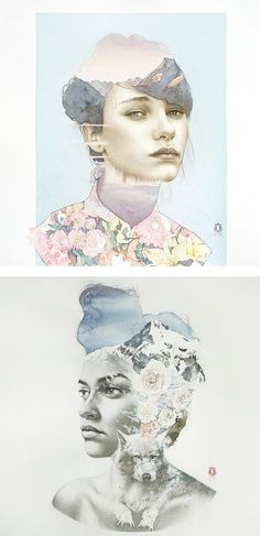 I love how this fashion illistration includes different elements and also is collaged,I love the soft pastel colours and the flower pattern, by Oriol Angrill Jordà