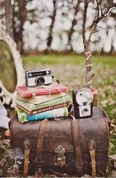 I love vintage books, trunks, cameras....