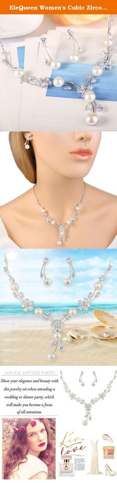 """EleQueen Women's Cubic Zirconia Simulated Pearl Flower Bridal Necklace Earrings Jewelry Set Ivory Color. You should have this jewelry set near you all the time since it is so fashion and eye-catching. You can wear it and have it with you to support you wherever you go. Make a statement with this wonderful jewelry set. EleQueen EleQueen has been found for many years, referred to """"Elegant Queen"""", which denotes to treat all of the world's women like an elegant queen and meet their fantasies…"""
