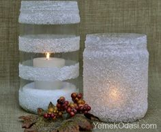 10 winter crafts to do with Mason jars! - 10 winter crafts to do with Mason jars! – Crafts – Great crafts to do with your children – Ti - Winter Christmas, All Things Christmas, Christmas Holidays, Christmas Decorations, Christmas Popcorn, Candle Decorations, Wedding Decorations, Christmas Tables, Rustic Christmas