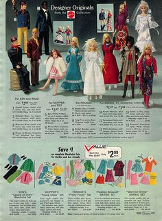 Barbie and Ken Fashions from the Sears Christmas Wish Book Catalog, 1972