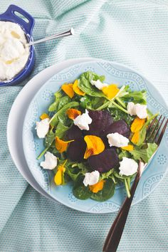 beet & ricotta salad with edible flowers - Grits & Chopsticks