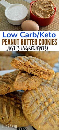 3 ingredients. Keto. Low carb peanut butter cookies.
