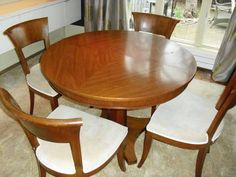 "$1049 Neo / Classic Designer Dining Table and Chairs ""John Stuart"" with 2 leaves"
