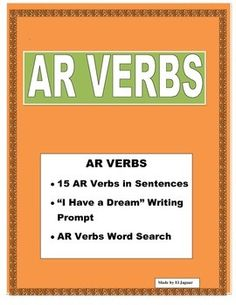 #IhaveadreamspanishThis wonderful and exciting lesson was designed to introduce AR Verbs to students.  The Vocabulary worksheet show 15 different AR verbs used in different sentences.  The lesson is designed towards having students fill the prompt with their dreams.