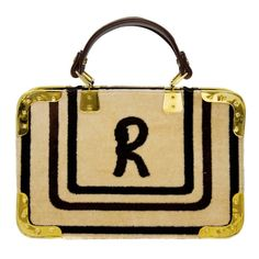 1970's Roberta Di Camerino Beige Velvet Bag | From a collection of rare vintage top handle bags at https://www.1stdibs.com/fashion/handbags-purses-bags/top-handle-bags/