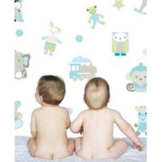 Nursery Toys Pastel Blue Patterns - Wall Stickers