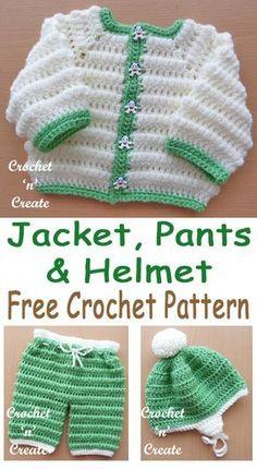 FREE Crochet Boys Puff Stitch Set Pattern, cute outfit, make for bringing home gift. #crochetncreate #freebabycrochet #babyboycrochet