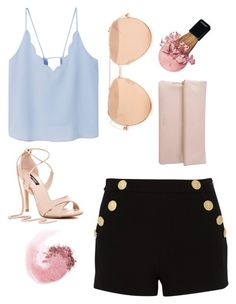 """""""Pastel pretty"""" by elizabethwilson684 ❤ liked on Polyvore featuring MANGO, Boutique Moschino, NARS Cosmetics, Linda Farrow and Whistles"""