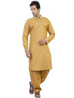 Ravishing mustard color linen pathani kurta. Item code : SKB3337 http://www.bharatplaza.com/new-arrivals/kurta-pyjamas/mustard-kurta-pyjama-skb3337.html
