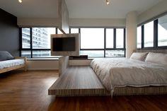 TV set, bedroom, platform bed