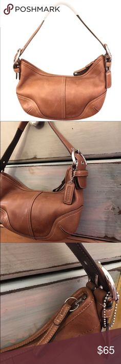 Coach Light Brown Leather Bag This is a very elegant and a very cute bag.  Metallic parts are in silver tone. One zipper pocket. f7c369dd951e3