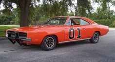"One of the original 1969 ""General Lee"" Dodge Chargers from the TV series ""The Dukes of Hazzard"".  The one shown here is not just any ol' General Lee, but the very first car to appear on the first episode of the series performing its famous jump over a Hazzard County police cruiser.  Fully-restored over a period of 16 months after sitting in an Atlanta, GA junkyard for some 23 years.  Went up for auction in January 2012."
