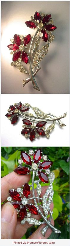 Art Deco Ruby Red Flower Brooch, Clear Rhinestones, Pewter, Large Vintage #brooch #artdeco #red #rhinestones #flower #pewter #large #vintage #antique https://www.etsy.com/RenaissanceFair/listing/552921657/art-deco-ruby-red-flower-brooch-clear?ref=shop_home_active_1  (Pinned using https://PromotePictures.com)