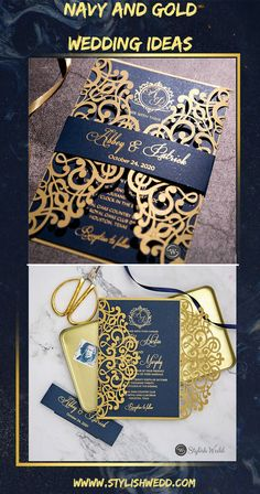 gold laser cut wedding invitation with gold hot foil printed on navy blue cardstock SWWS123 #wedding#weddinginvitations#stylishwedd#stylishweddinvitations #vellumweddinginvitations