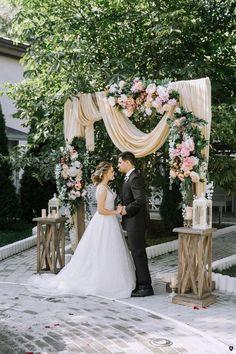 Wedding Decorations rustic peach fabric and latern wedding arch Rustic Wedding Backdrops, Wedding Altars, Wedding Lanterns, Wedding Centerpieces, Wedding Ceremony, Wedding Decorations, Wedding Rustic, Wedding Arches, Rustic Backdrop