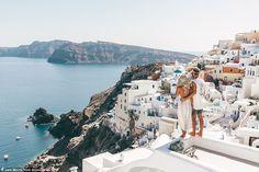 Lauren Bullen and Jack Morris in Greece overlooking stunning islands and scenery
