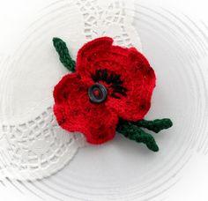 Crochet brooch Red flower Poppy   http://www.etsy.com/shop/CraftsbySigita?ref=si_shop