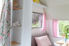 pretty, soft decor in this vintage caravan...