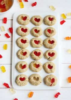 Gummy Bear Cookies. 1/2 cup butter, softened 1/4 cup brown sugar 1 egg yolk 1/2 teaspoon vanilla extract 1 cup flour 1/8 teaspoon salt 10 gummy bears (plus more for snacking)