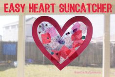 Easy toddler Valentine's heart suncatcher craft - super cute and simple to make!