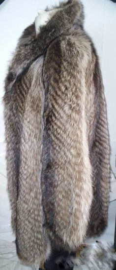 Racoon Fur Jacket Coat  Shawl Collar Real Fur - Very Soft Fur size L #Unbranded #Jacketwithshawlcollar
