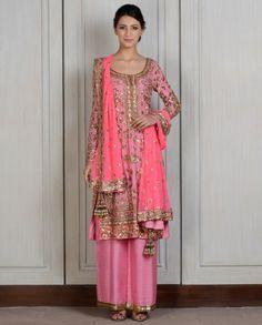 #Desi #Fashion ~ Salmon Pink Embroidered Straight Kalidar Pink @ http://www.ManishMalhotra.in/women.html eStore