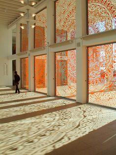 Gunilla Klingberg: Brand New View, 2003, cut-out adhesive vinyl film, Henry Dunker Culture Center, Helsingborg.