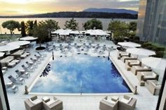 Pool facing Lake Geneva @ the renovated President Wilson Hotel.  One Day Soon!
