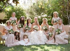 OBSESSED !!! love the flowers and the picture.  headpieces are too big and not for BM.  But her flowers are more muted and then she had the brighter orange inside where we would bring in the darker (blush, pink, whites, etc)      MindyRice.com