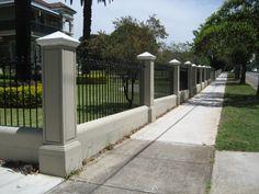 Pier Caps, Porch & Concrete Columns | balustrades & Fencing Aluminum Driveway Gates, Concrete Column, Porch Columns, Fencing, Home Improvement, Sidewalk, Deck, Architecture, Outdoor Decor