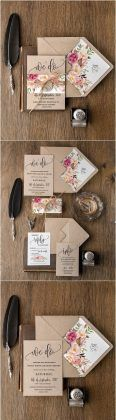 Rustic country peach and pink kraft paper wedding invitations
