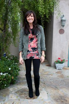 Olive jacket, floral top.   Glitter and Grace