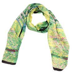 Luxurious 100% Charmeuse Silk Long Scarf Hand Rolled Edge Claude Monet's Bridge
