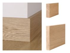 Solid oak square edge skirting board and architrave