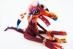 OOAK Henson Labyrinth Fiery inspired goblin monster wool needle felted art doll soft sculpture plush ready made. $425.00, via Etsy.