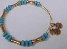 Alex & Ani Gold Tone Adjustable Bracelet w/ Blue & Gold Tone Accent Beads - http://designerjewelrygalleria.com/alex-ani/alex-ani-gold-tone-adjustable-bracelet-w-blue-gold-tone-accent-beads/