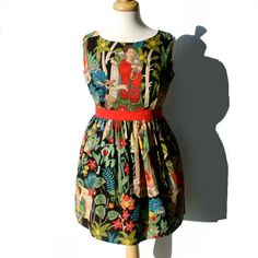 I want to wear this on my birthday in July. | Day of the Dead / Frida Kahlo Mexican Art /Dress Vintage Inspired Dress / Frida Dress Medium