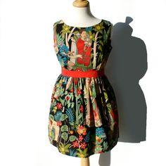 Day of the Dead / Frida Kahlo Mexican Art /Dress Vintage Inspired Dress / Frida Dress