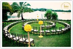 Ceremony seating - I think this is FABULOUS!  You would be SURROUNDED by love.....renewal?