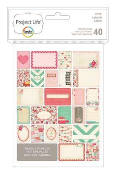 Project Life LOVE Themed Cards Pack  - Includes 40 Project Life Cards