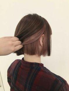 Hidden Hair Color, Two Color Hair, Hair Color Streaks, Hair Dye Colors, Hair Highlights, Korean Hair Color, Short Grunge Hair, Short Dyed Hair, Under Hair Dye