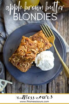 Gluten Free Apple Brown Butter Blondies Recipe || Who's ready for apple season? I have these easy Apple Brown Butter Blondies on repeat over here right now. They're a great take on a classic- and so good that I'll be keeping them around all season long! {{ This recipe and post was made in partnership with Pamelas Products. We received product and compensation in exchange for it. Opinions are always our own. If we don't love it, you don't hear about it.}} #thismessisours #pamelasproducts #apples