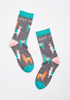 You'll be hard pressed not to llove these crew socks! Colorful llamas adorn this soft knit pair—making them quite quirky. Llama Socks, Fiddler Hat, Hard Pressed, Hat And Scarf Sets, Hat Hairstyles, Pom Pom Hat, Blanket Scarf, Outdoor Outfit, Modcloth