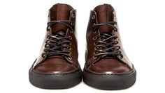 BUTTERO: DARK BROWN TANINO MID HIGH TOP SNEAKERS (B6112UTHGB1/04N) Leather Sneakers, Dark Brown, Hiking Boots, High Tops, High Top Sneakers, Amazing, Shoes, Fashion, Leather Court Shoes