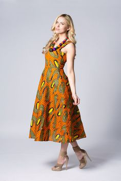 Yellow dress Mid length Wax print Dress Orange by COLUFashion