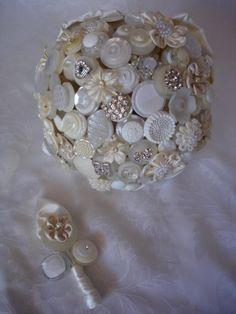 The Diamonds and Pearls Button Bouquet and by LillybudsBouquets