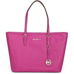 Michael Kors Jet Set Leather Travel Tote - Fuschia ($206) ❤ liked on Polyvore featuring bags, handbags, tote bags, zippered tote, genuine leather tote, pink tote, leather tote bags and leather zip tote