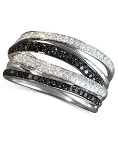 EFFY 14k White Gold Ring, Black and White Diamond Multi-Row Crossover Ring (1/2 ct. t.w.)